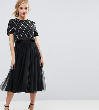 Asos Embellished Crop Top Midi Tulle Prom dress