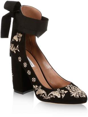 Tabitha Simmons Isabel Embroidered Suede Ankle-Wrap Pumps