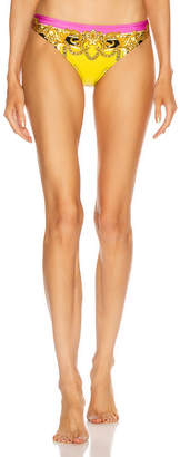 Versace Baroque Bikini Bottom in Fuchsia & Yellow | FWRD