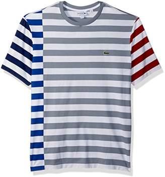 Lacoste Men's Short Sleeve Broken Striped Jersey Tee-Relaxed Fit