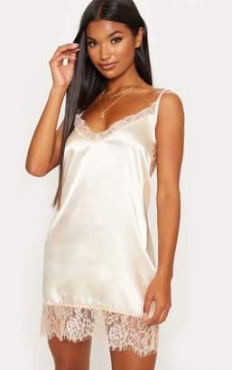 PrettyLittleThing Nude Satin Lace Insert Slip Dress