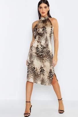 4df54c080940 boohoo High Neck Satin Leopard Midi Dress