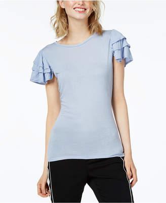 Bar III Ruffled Short-Sleeve Top, Created for Macy's