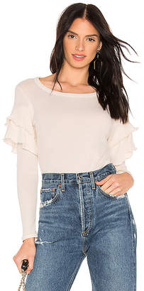 Chaser Gauzy Cotton Ruffle Shirttail Tee