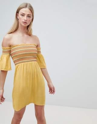Brave Soul Sunny Bardot Dress with MULTI-COLOR Shirring