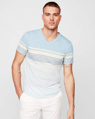 Express Striped V-Neck Burnout Tee