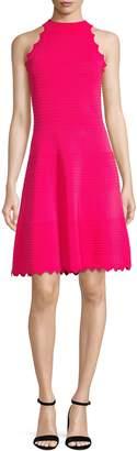 Eliza J Halter Neck Ribbed Fit--Flare Sweater Dress