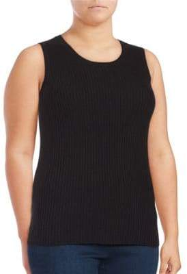 Lord & Taylor Plus Sleeveless Roundneck Ribbed Top