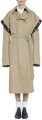 Givenchy Leather Trimmed Beige Cotton Trench Coat