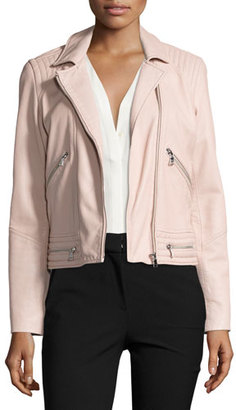 Rebecca Taylor Washed Leather Motorcycle Jacket, Pink $950 thestylecure.com