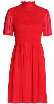 ALEXACHUNG Shirred Crepe De Chine Dress
