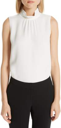 Lafayette 148 New York Didi Silk Ruffle Neck Blouse