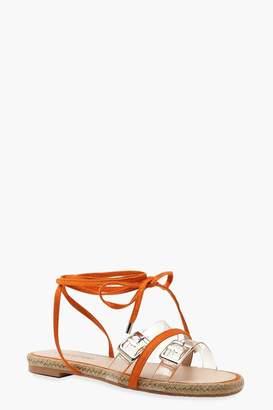 boohoo Clear Strap Wrap Espadrille Sandals