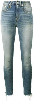 R 13 Jenny Washed Blue mid rise skinny jeans
