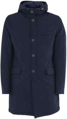 Herno Raincoat In Blue High Tech Fabric.