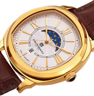 Bruno Magli Men's 42mm Moonphase Watch, Crocodile/Gold