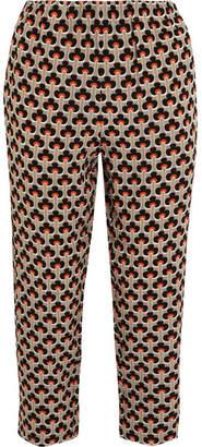 Marni Printed Silk Crepe De Chine Track Pants - Orange