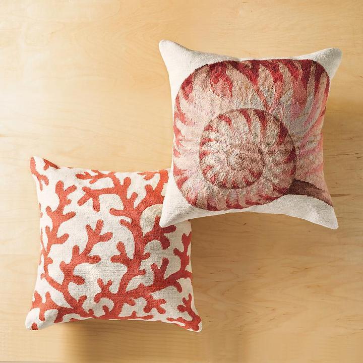 Gump's Coral and Nautilus Pillows