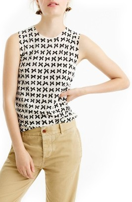 Women's J.crew Jackie Bow Print Lightweight Wool Shell $69.50 thestylecure.com