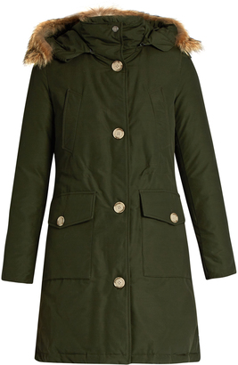 WOOLRICH JOHN RICH & BROS. Arctic long fur-trimmed cotton-blend canvas parka $850 thestylecure.com