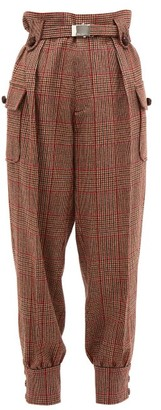 Miu Miu Prince Of Wales Checked Wool Blend Trousers - Womens - Red Multi