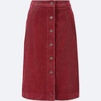Uniqlo Women's Corduroy High-waist Front Button Skirt
