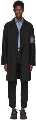 Prada Black Mohair Logo Coat