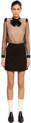 Givenchy Studded Tulle & Wool Crepe Dress W/ Bow