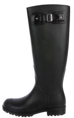Saint Laurent Rubber Knee-High Rain Boots Black Rubber Knee-High Rain Boots