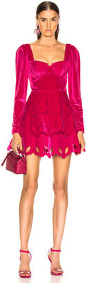 Self-Portrait Self Portrait Tiered Velvet Mini Dress in Fuchsia | FWRD