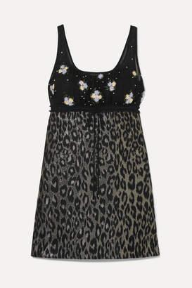 Miu Miu Embroidered Tulle And Leopard-print Jacquard Mini Dress - Black