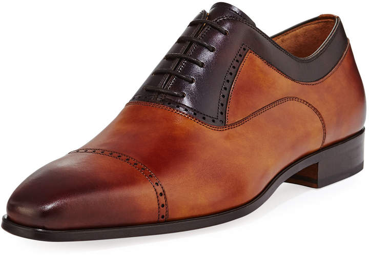 Magnanni For Neiman Marcus Leather Brogue Calf Leather Oxford