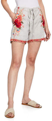 Johnny Was Burken Linen Shorts w/ Floral Embroidery, Plus Size