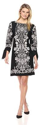 Sandra Darren Women's 1 Pc 3/4 Sleeve Printed Ity Puff Shift Dress