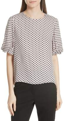 Milly Melinda Dot Puff Sleeve Silk Blouse