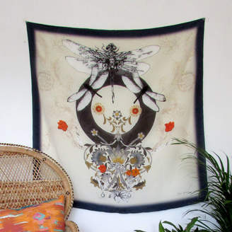 Alice Acreman Silks 'Dragonfly' Illustrated Silk Scarf