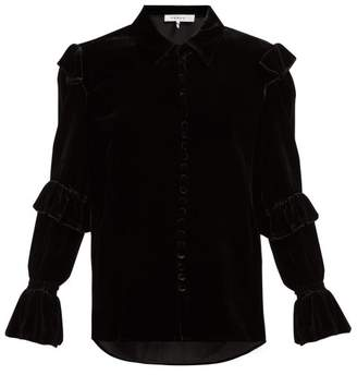 Frame Ruffled Velvet Blouse - Womens - Black