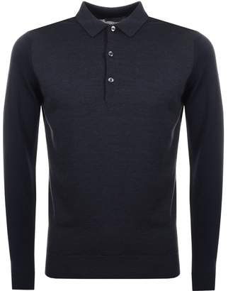 John Smedley Brightgate Knit Polo T Shirt Navy