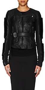 Rick Owens Women's Mink-Fur-Trimmed Blistered Leather Biker Jacket - Black