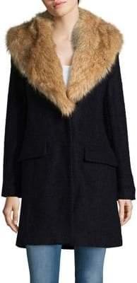Belle Badgley Mischka Wool-Blend Faux Fur Collar Walker Coat