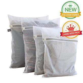 Extra Large Heavy Duty Mesh Wash Laundry Bag- Pack of 4 (2 Extra Large + 2 Large ) 125gsm Net Fabric Durable and Reusable Wash bag