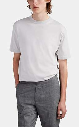 The Row Men's Roger Fine-Gauge Silk-Cotton Short-Sleeve Sweater - Light Gray