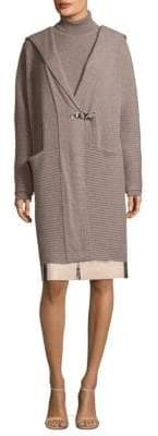Lafayette 148 New York Ribbed Cashmere Hooded Cardigan