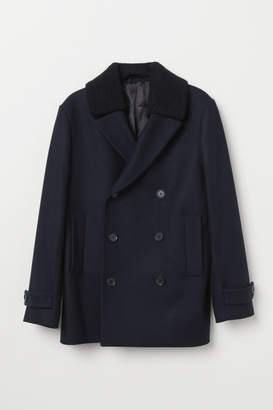 H&M Wool-blend Pea Coat - Blue