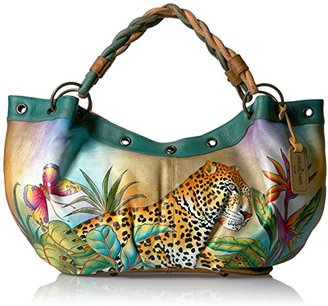 Anuschka Handpainted Leather Braided Handle Large Ruched Hobo Leopard in Paradise $156.52 thestylecure.com