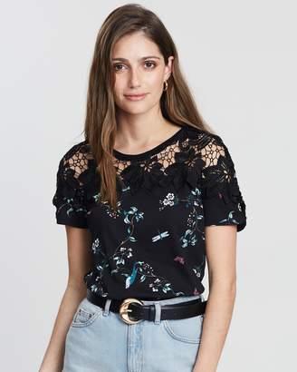 Dorothy Perkins Floral Print Lace T-Shirt