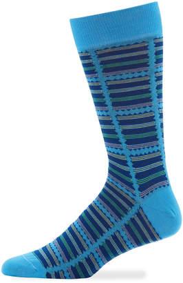 Jared Lang Men's Multicolor Striped Cotton Socks, Blue