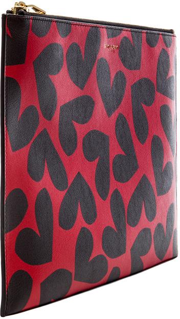 Saint Laurent Zipped Heart Clutch in Red & Black