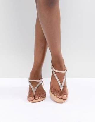 e5e0189df9e Asos Design DESIGN Fixing Leather Embellished Flat Sandals