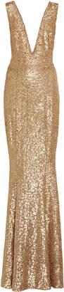 Michael Kors Gold Lace Paillette Gown